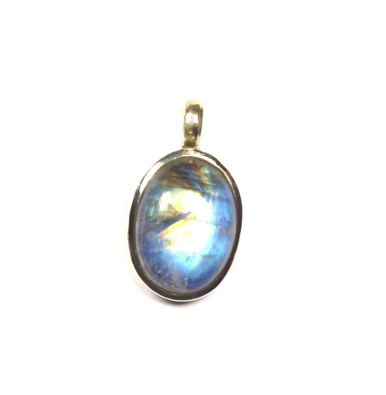 rainbow moonstone pendant silver oval colourfull one